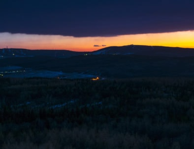 Night view to Ore mountains - Klinovec and Fichtelberg