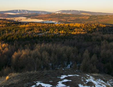 Klinovec from Spicak view in Ore Mountains